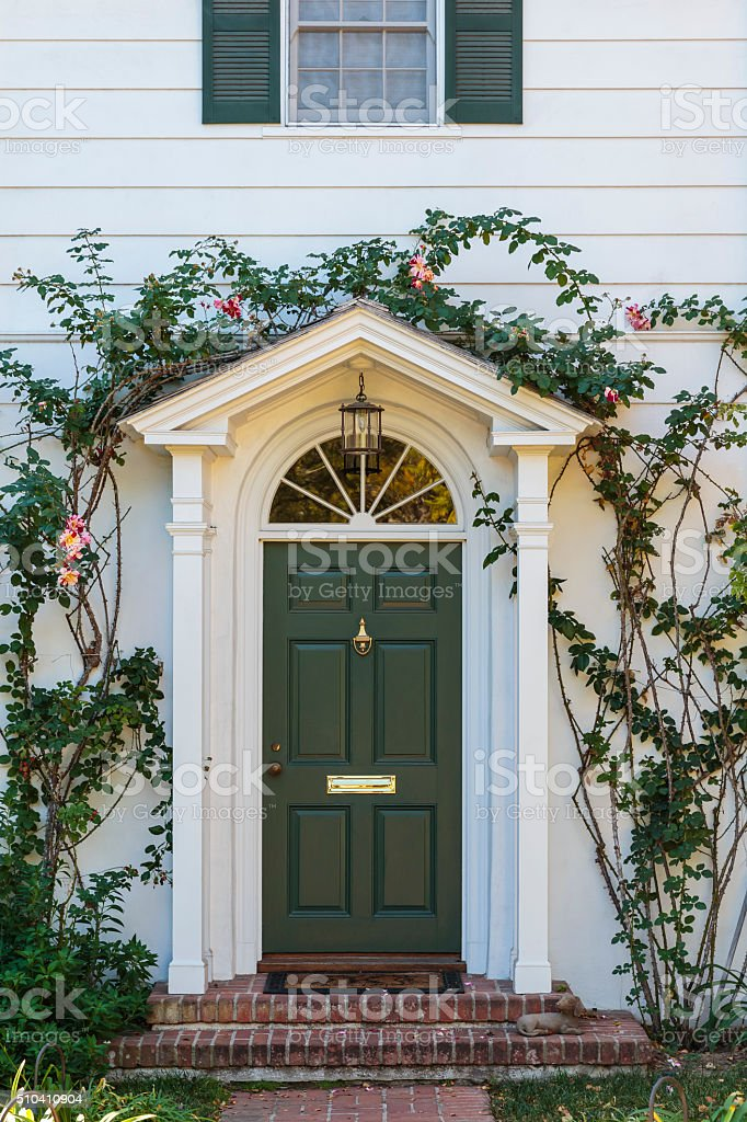 front green door with ivy stock photo