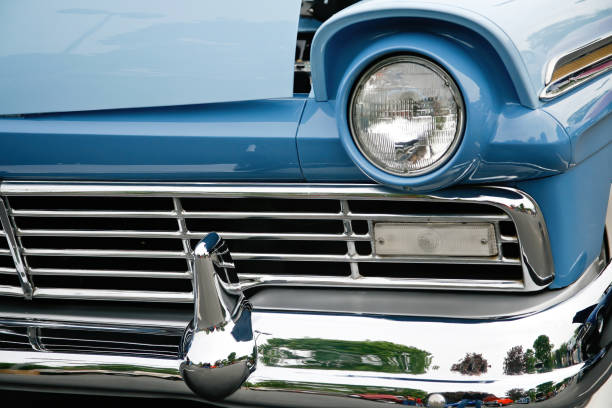 Front grille of old car stock photo