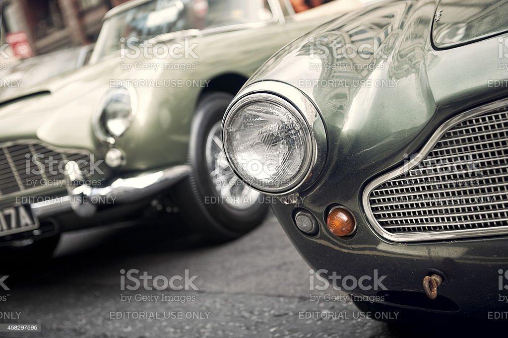 Front headlight detail of classical Aston Martin stock photo