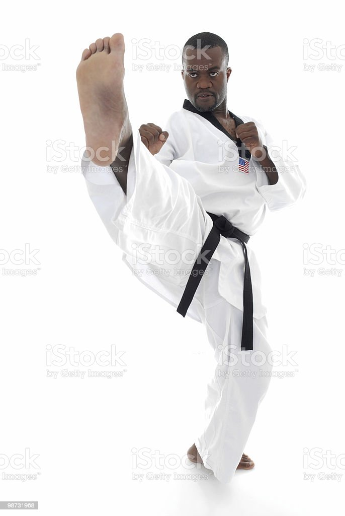 Front kick execution royalty-free stock photo