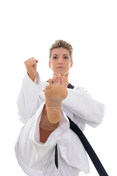 front kick training - karate stock photos and pictures