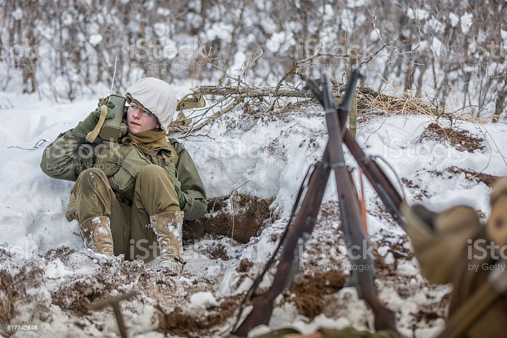 WW II: Front Lines in the Snow M1 Garand Stack stock photo