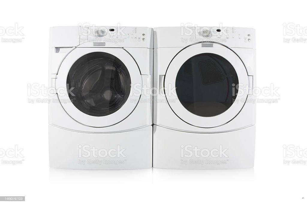 フロント負荷洗濯機と乾燥機で、白背景 - 人物なしのロイヤリティフリーストックフォト