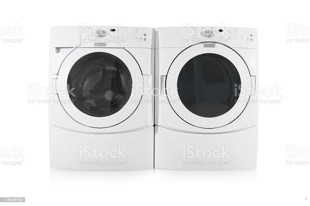 Front load washer and dryer on white background stock photo