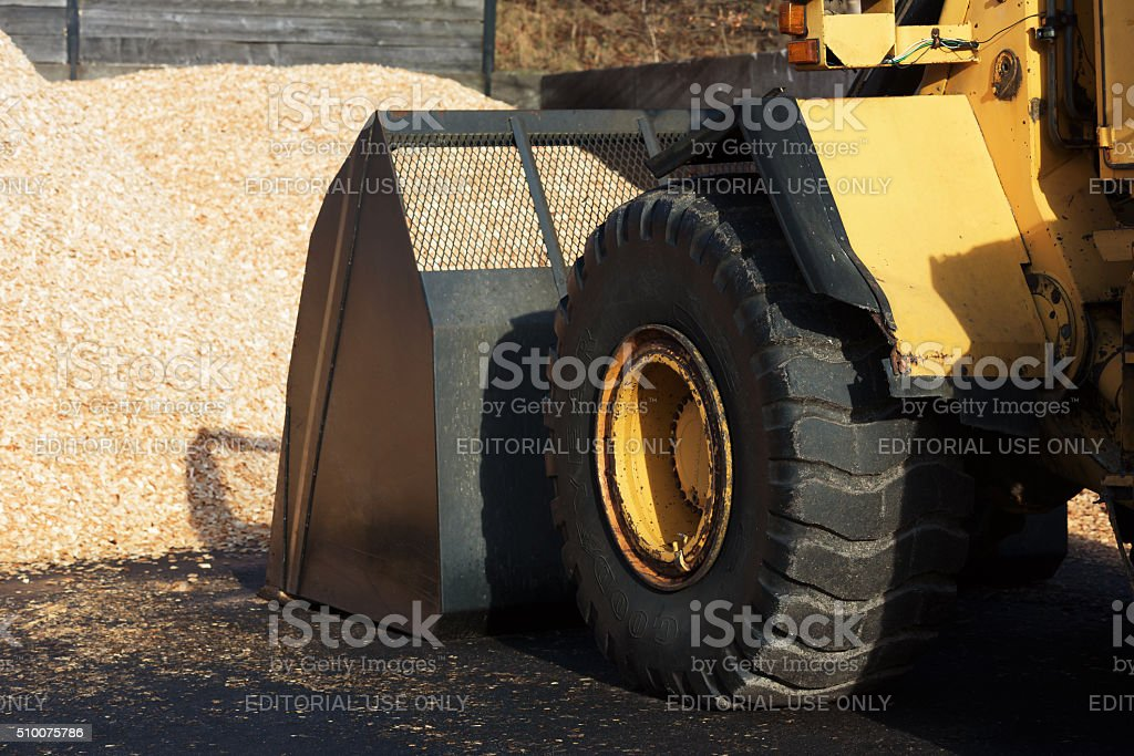 Front loader and biofuel stock photo
