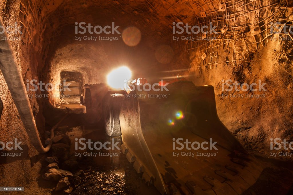 front loader in an iron mine stock photo