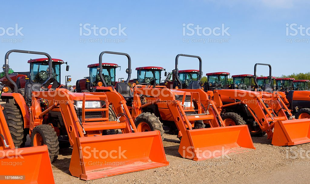 Front Loader Tractors, Tractor Park stock photo