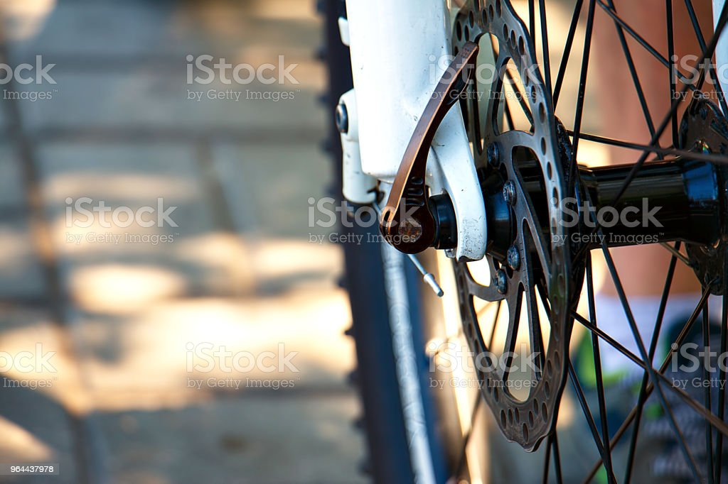 Front mountain bike wheel close-up - Royalty-free Alloy Stock Photo