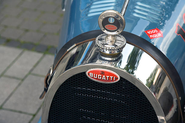 Front of a Bugatti from 1929 stock photo