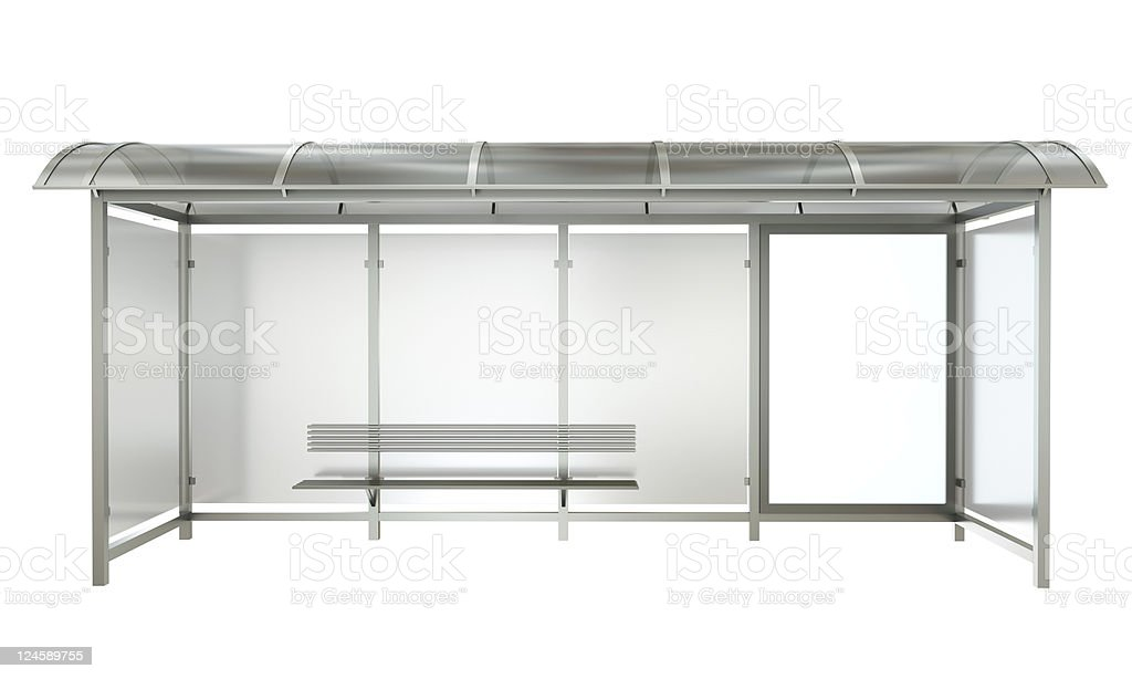 Front of a bus stop with empty banner stock photo