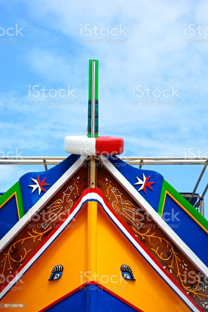 Front of a Dghajsa boat, Malta. stock photo
