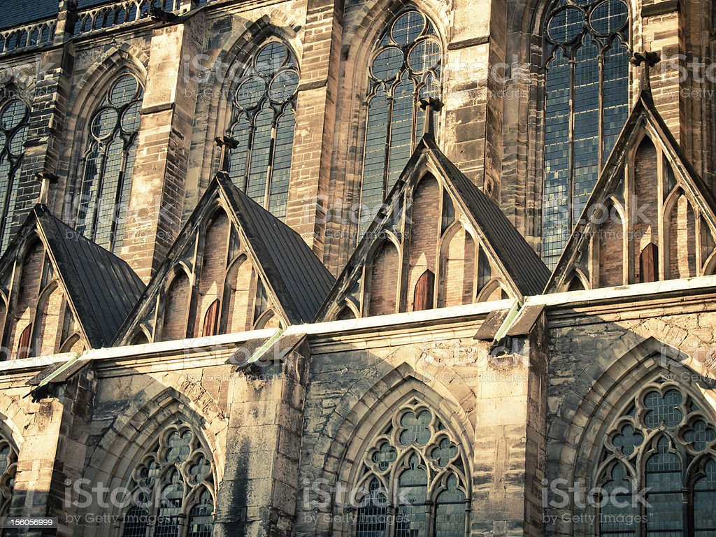 Front of a gothic cathedral royalty-free stock photo