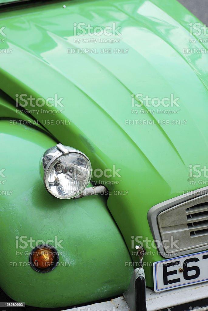 Front of a green Citroën 2CV stock photo