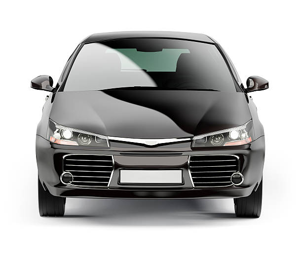 front of a modern black compact car isolated on white - front view stock photos and pictures