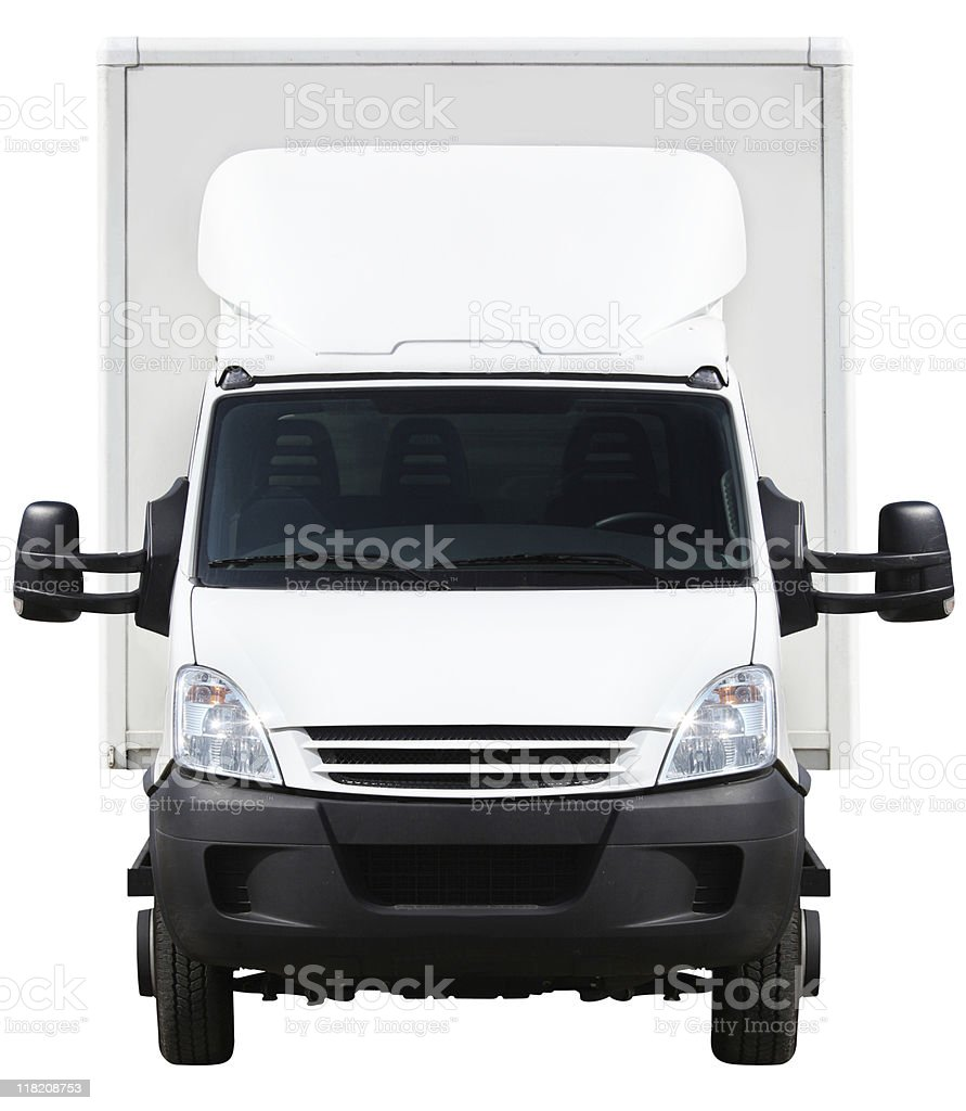 front of a small truck (clipping path included) stock photo