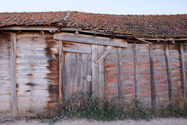 Front of abandoned wooden house with grass stock photo