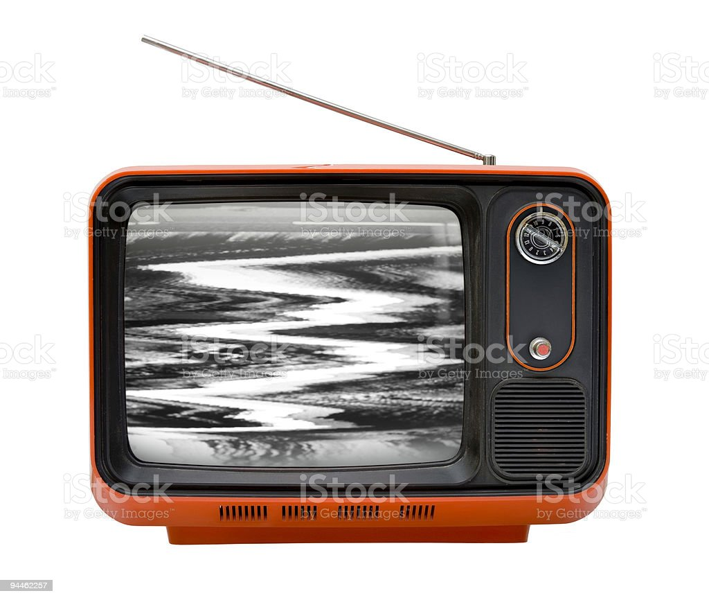 Front of an old retro orange television isolated on white stock photo