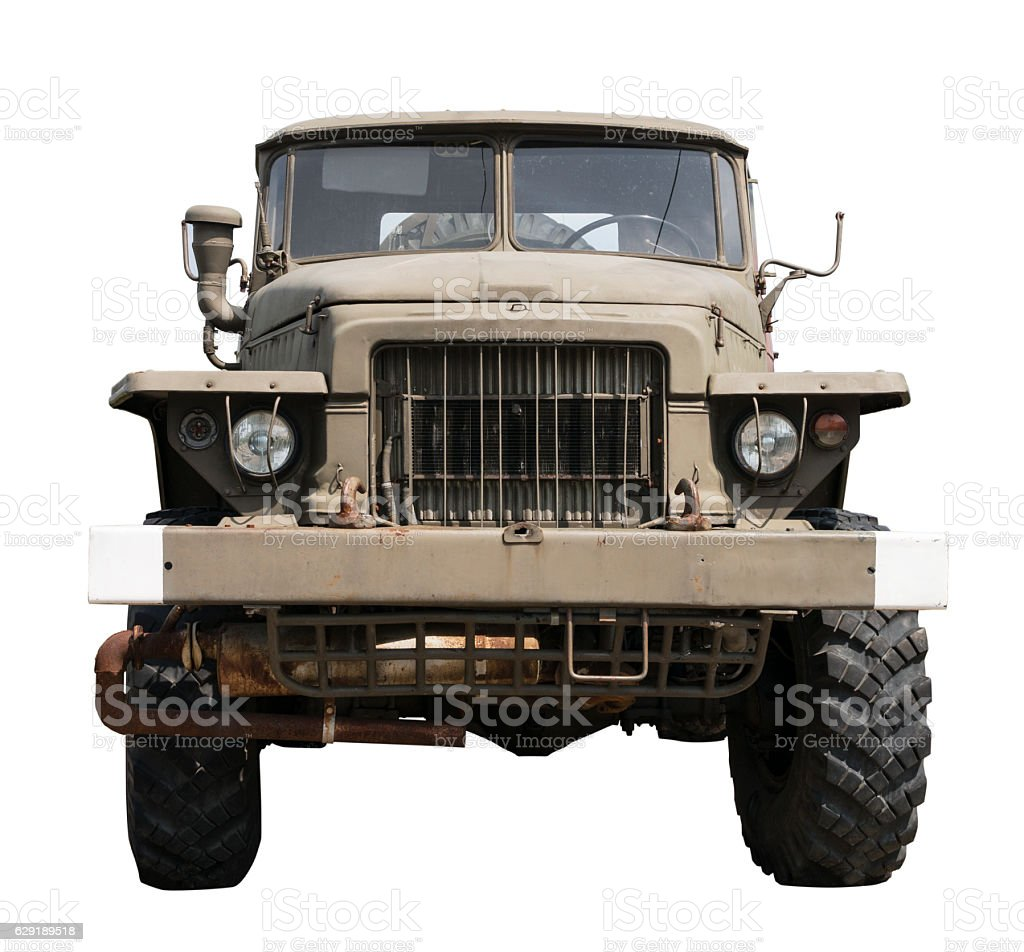 Front of an old Russian army truck stock photo