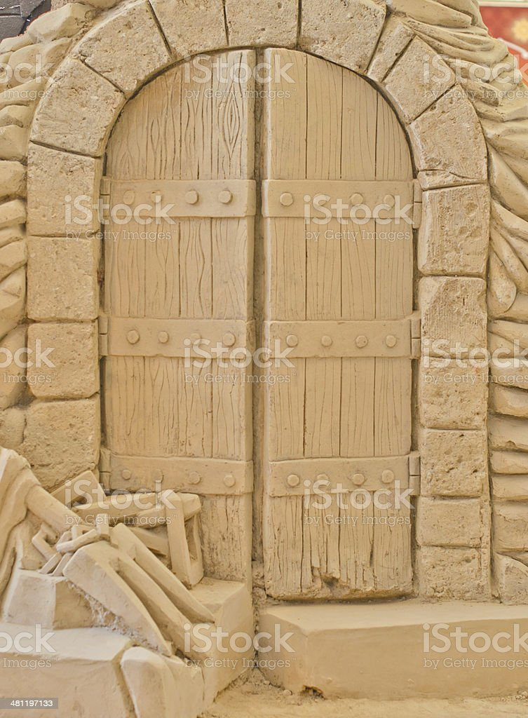 Front of Ancient door.. stock photo