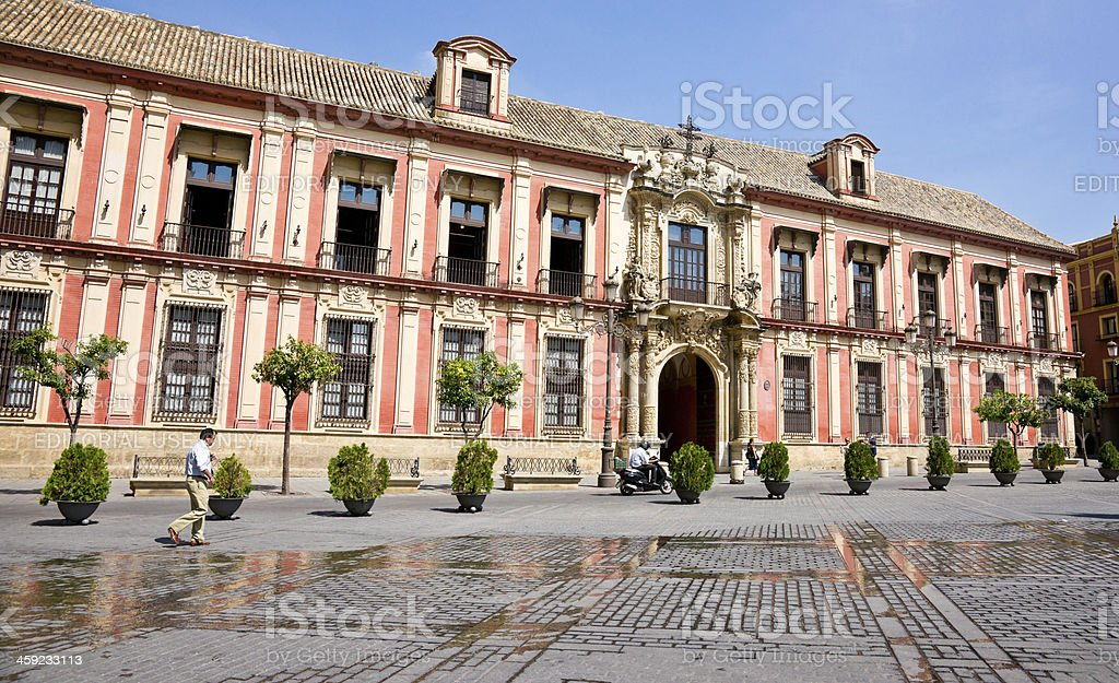 Front of Archbishop's Palace in Seville, Spain stock photo