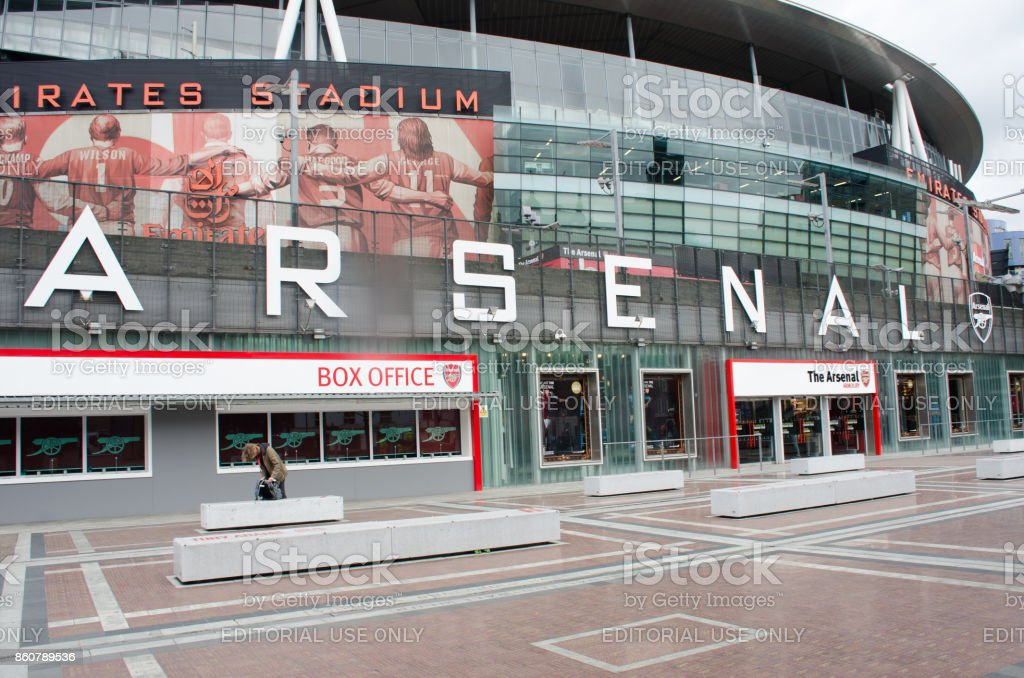 Front of Arsenals Emirates Stadium stock photo