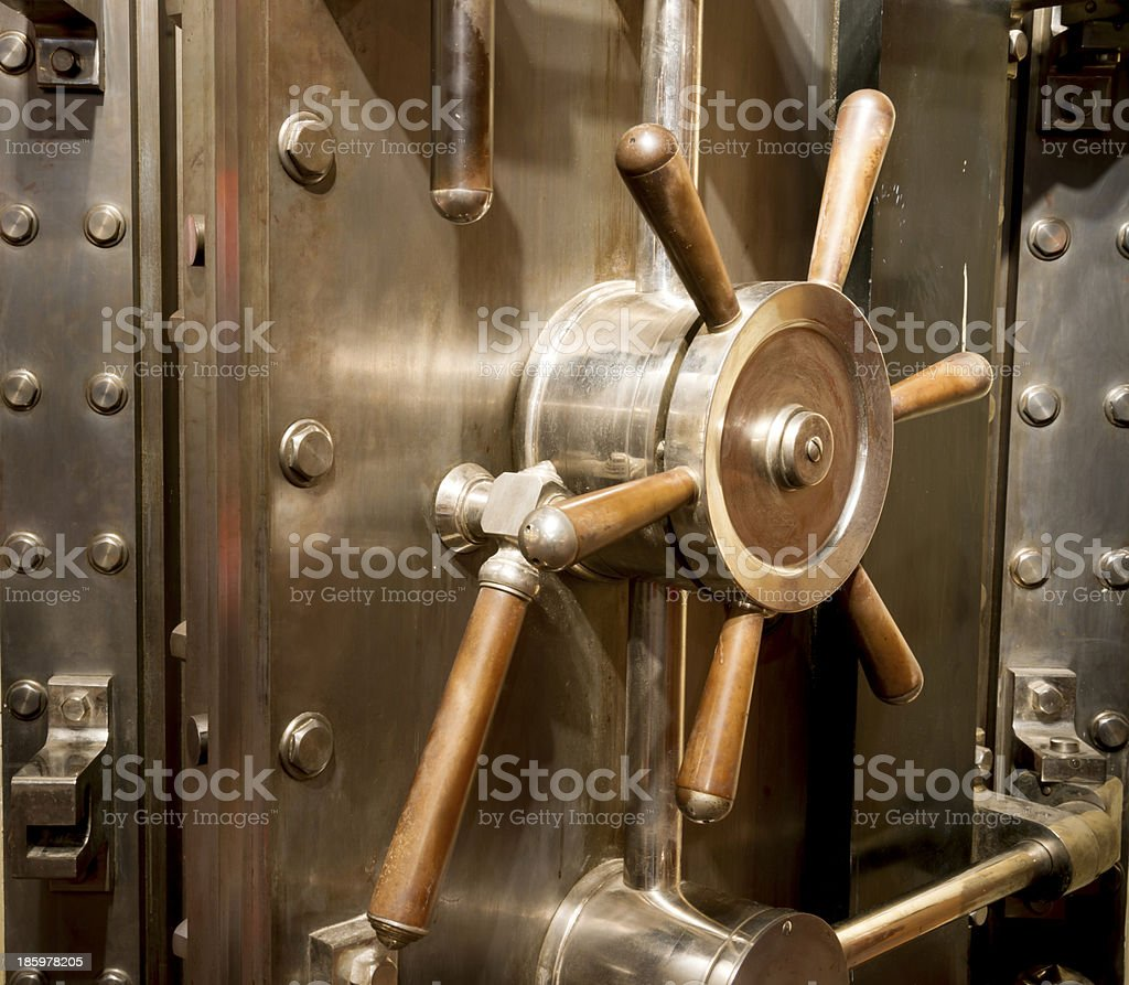 Front of Bank Vault Massive Door Handle Combination Lock Dial stock photo
