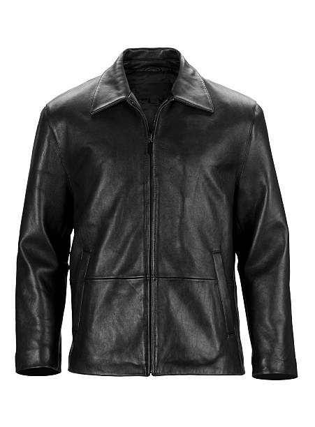 Front of black leather jacket-isolated on white w/clipping path Front view of form filled dressy black leather jacket. Isolated on 255 white with clipping path.http://www.garyalvis.com/images/thingsToWear.jpg leather jacket stock pictures, royalty-free photos & images