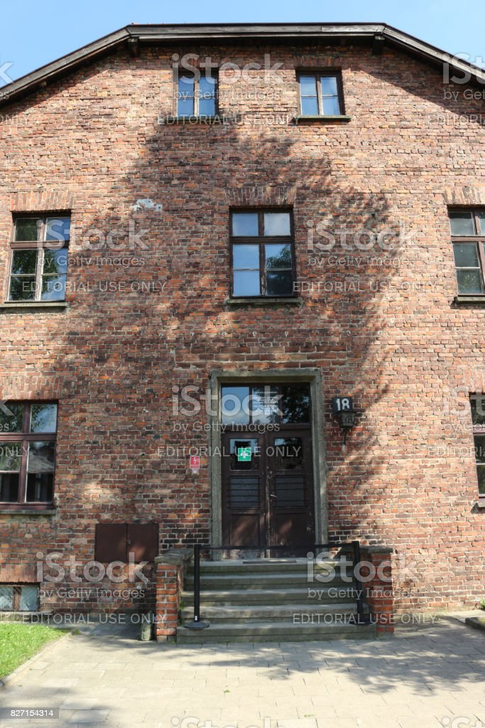 Front of block 18 at the nazi concentration camp. stock photo