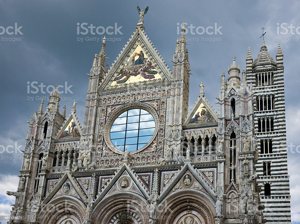Front of Cathedral (Duomo) in Siena, Italy stock photo