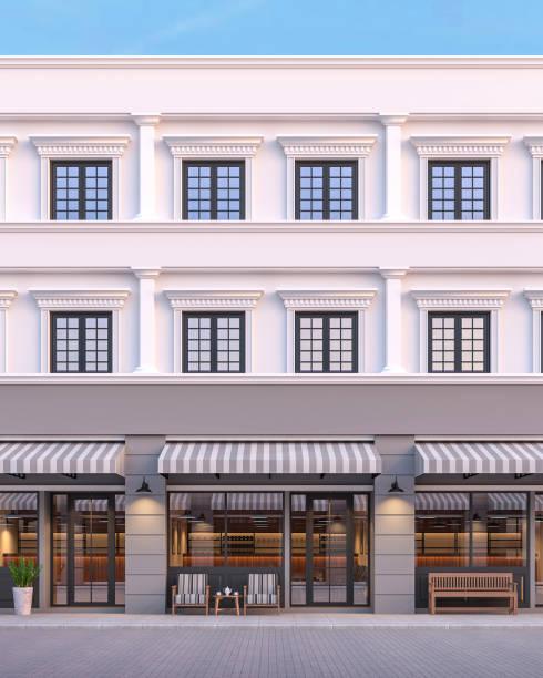 frente do estilo clássico comercial de construção 3d render - facade shop 3d - fotografias e filmes do acervo