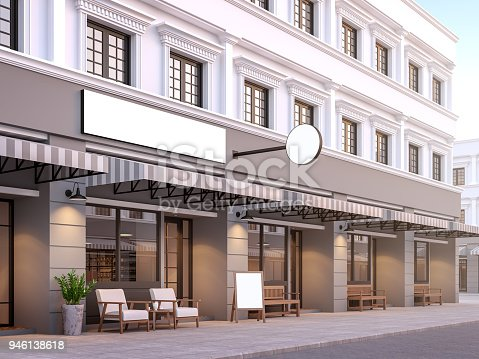 Front of classical style commercial building 3d render.There are a street shop, The building has classical style with gray and white color. The shop has white blank sign with clipping path.
