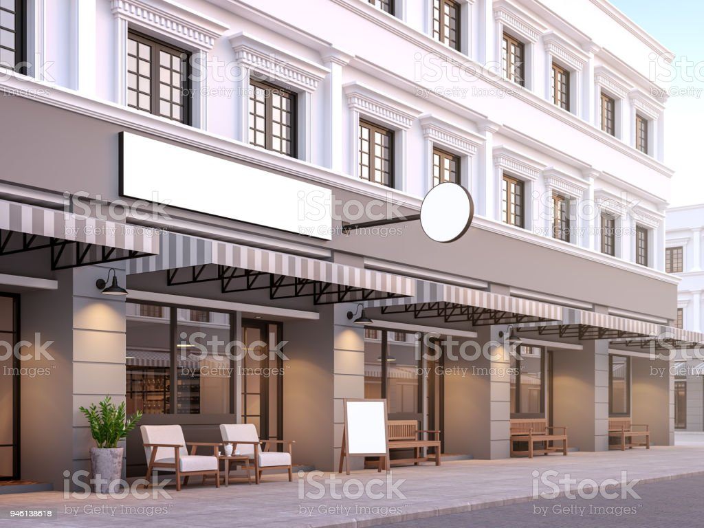 Front of classical style commercial building 3d render stock photo