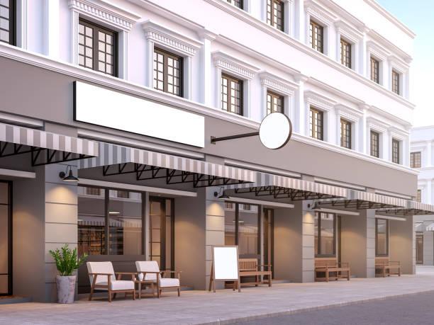 vorderseite des klassischen stils geschäftshaus 3d rendern - kaffee shop stock-fotos und bilder