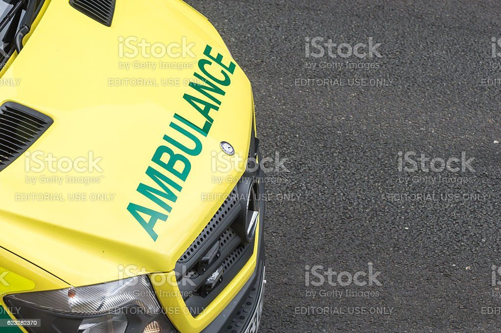Front of emergency service ambulance with copy space. stock photo