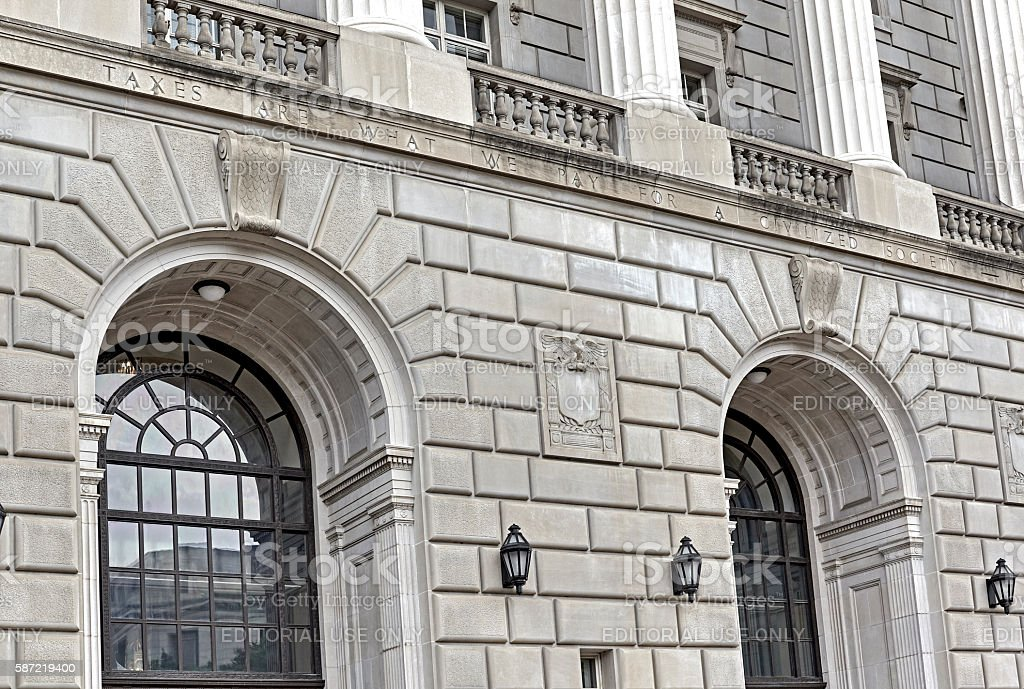 Front of Internal Revenue Service Building in Washington DC stock photo