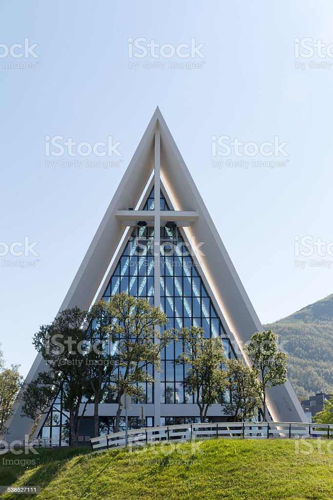 Front of Ishavskatedralen in Tromso¸ stock photo