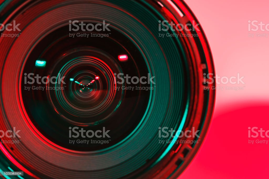 Front of lens camera and light shade color from two flash. royalty-free stock photo