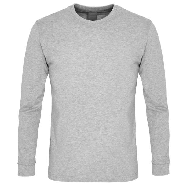 Front of long sleeve sweatshirt isolated on white background Front of mock up grey long sleeve sweatshirt isolated on white background long sleeved stock pictures, royalty-free photos & images