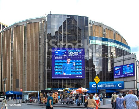 New York, New York/USA - June 25, 2019: Front of Madison Square Garden building in Manhattan.