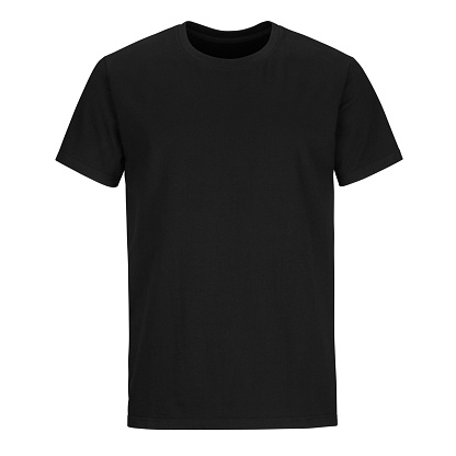 Front of men cut black  t-shirt isolated on white background