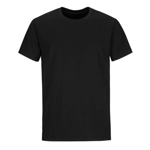 Front of men cut black  t-shirt isolated on white background Front of men cut black t-shirt mock up isolated on white background black shirt stock pictures, royalty-free photos & images