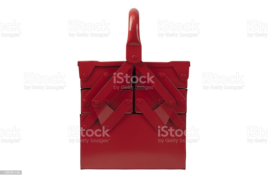 Front of multilevel red toolbox stock photo