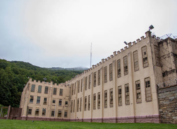 Front of old maximum security prison stock photo