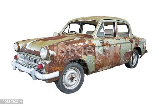Front of old rusty classic car isolated on white background. Old rusty ancient car isolated