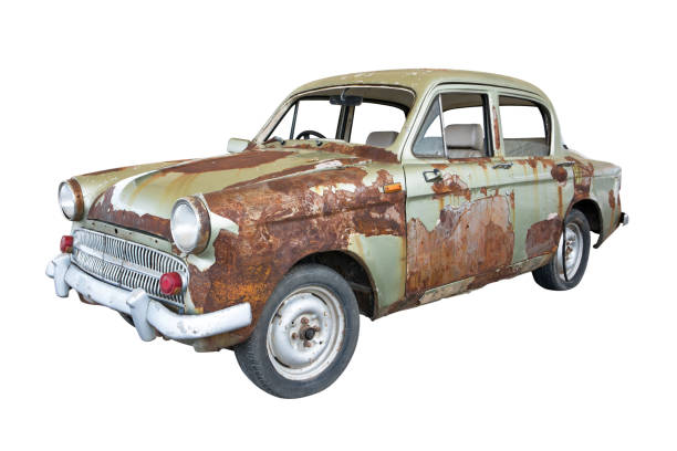 front of old rusty classic car isolated on white background. old rusty ancient car isolated - obsoleto foto e immagini stock