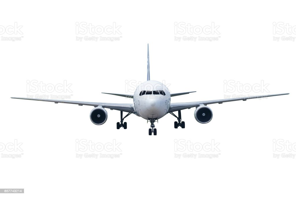 Front of real plane aircraft, isolated on white background stock photo