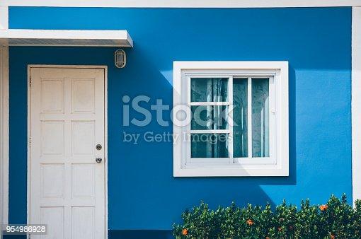 istock Front of resort with door and window on green background 954986928