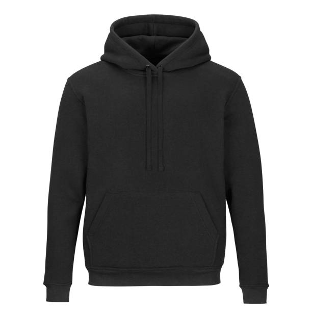 Front of sweatshirt with hood isolated on white background Front of mock up black sweatshirt with hood isolated on white background black shirt stock pictures, royalty-free photos & images
