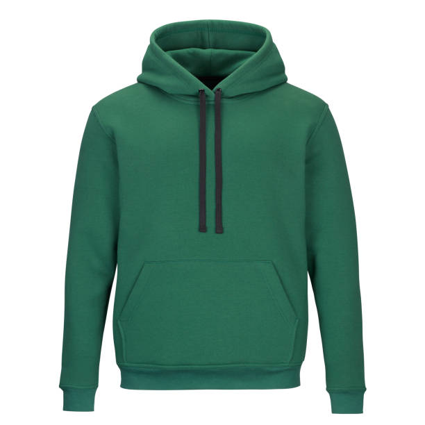 Front of sweatshirt with hood isolated on white background Front of mock up green sweatshirt with hood isolated on white background hood clothing stock pictures, royalty-free photos & images