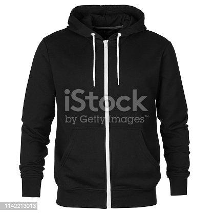 Front of mock up black sweatshirt with hood isolated on white background